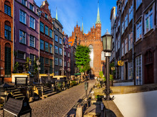 Mary's Street With The Basilica In Gdansk, Poland.