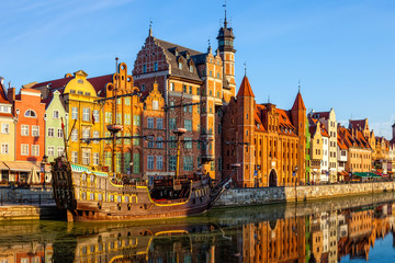 Fototapeta Vintage The riverside with promenade of Gdansk, Poland.