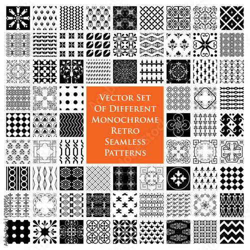 Poster Artificiel Monochrome retro seamless patterns