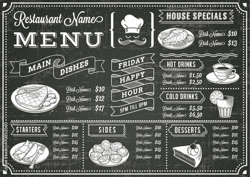 Fotobehang Restaurant Chalkboard Restaurant Menu Template