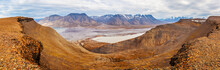 Horizontal Panorama View Near Longyearbyen, Spitsbergen, Norway