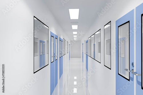 Fotografie, Obraz  Corridors For Clean room pharmaceutical plant