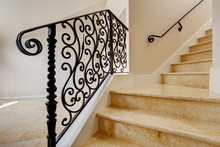 Marble Staircase With Black Wr...