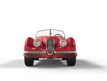 Red Vintage Car On White Backg...