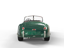 Green Old-timer Car On White Background - Tail Side View