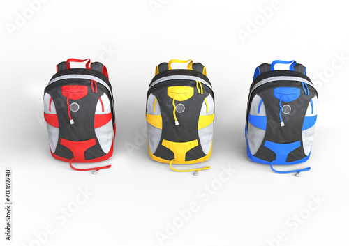 Fotobehang Cars Red, yellow and blue backpacks - top view