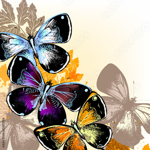 Canvas Prints Butterflies in Grunge Vector background with butterflies