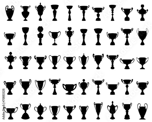 Photo Black silhouettes of trophy cup, vector illustration