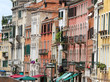 Venetian-style buildings with facades of many colors in Venice i