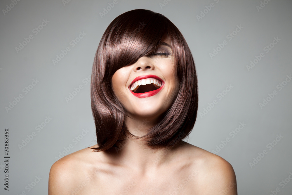 Fototapeta Smiling Beautiful Woman With Brown Short Hair. Haircut. Hairstyl