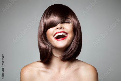 Smiling Beautiful Woman With Brown Short Hair. Haircut. Hairstyl Slika na platnu