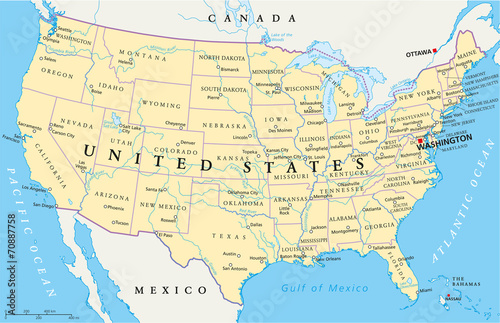 Photo United States of America Political Map with single states