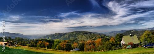 Panorama of mountain. Trzy Kopce, Beskid Śląski, Poland