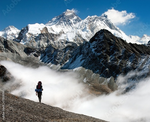 Wall Murals Nepal view of Everest from Gokyo with tourist