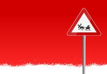 Schild Weihnachtsmann Im Schnee