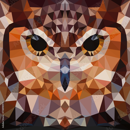 Owl head vector background geometric illustration