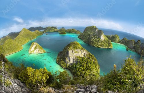 Ingelijste posters Indonesië Wayag Islands of Raja Ampat (Fish eye Version)