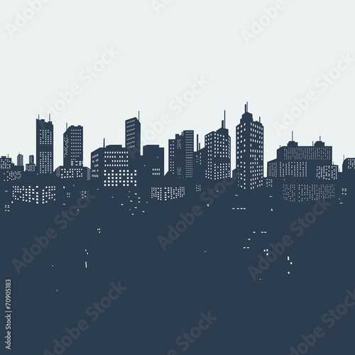 Photographie  Silhouette background city