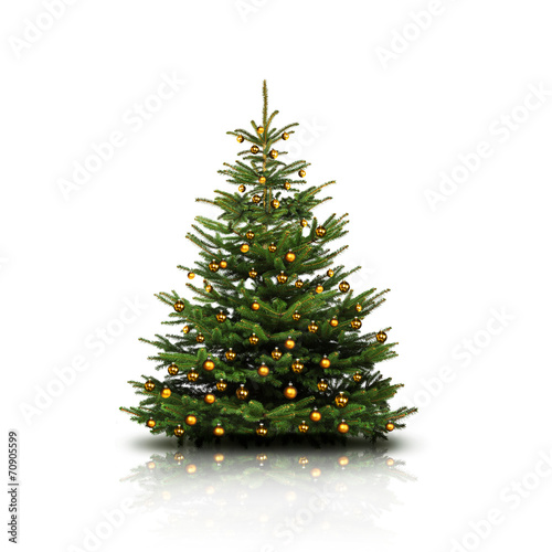Fototapeta Weihnachtsbaum mit Goldkugeln obraz
