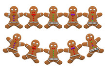 Gingerbread Man Cookie Ornaments Isolated On White Background