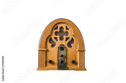 Fotografia  Vintage classic old wooden radio message concept