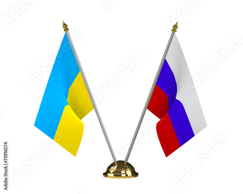 Photo  Ukraine and Russia table flags