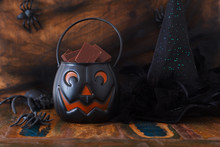 Sweets Chocolate For Halloween, Witch Hat, Spider, Web