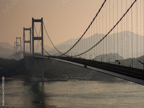 Kurushima-Kaikyo bridge at sunrize