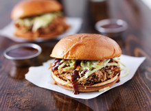 Two Pulled Pork Barbecue Sandw...