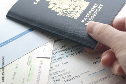 Holding Canada Passport With Boarding Pass Buy This Stock Photo