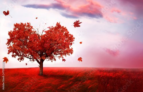 Poster Light pink Autumn landscape with heart shape tree