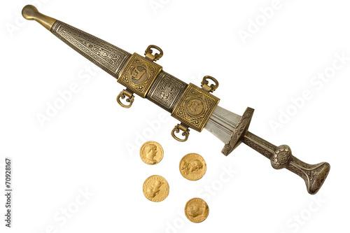 Fotografie, Obraz  Římská říše Dagger a denárů mincí Repliky II