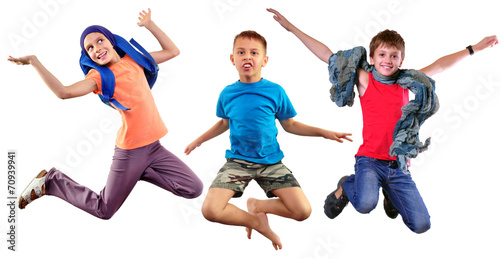 Foto op Plexiglas Dance School isolated group portrait of running and jumping children