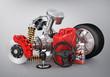 Set of parts of car. 3d render.