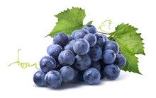 Blue Wet Grapes Bunch Isolated...