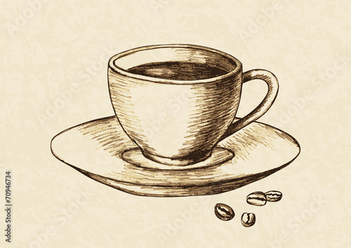 Sketch illustration of a cup of coffee and coffee beans