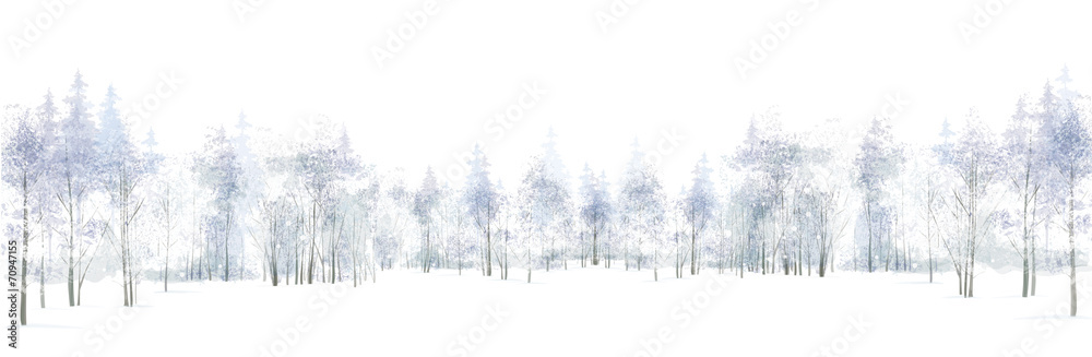Fototapeta Vector winter scene with  forest background isolated on white.