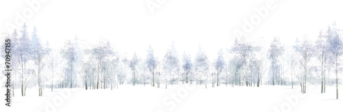 Poster Blanc Vector winter scene with forest background isolated on white.