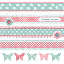 Scrapbook Design Elements. Butterflies, Buttons And Lace.