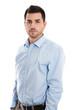canvas print picture Mann business in Hemd blau freigestellt