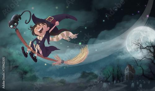 Fototapeta  bruja volando en Halloween