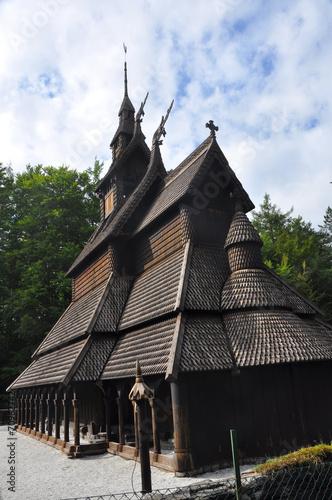 Staande foto Scandinavië fantoft, stabkirche in norwegen