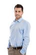 canvas print picture Bewerbungsfoto: attraktiver junger Business Mann isoliert