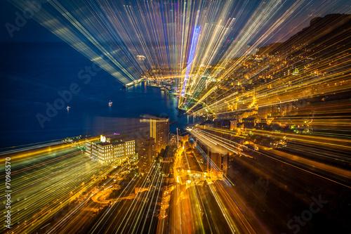 Pinturas sobre lienzo  Futuristic radial blur background perspective