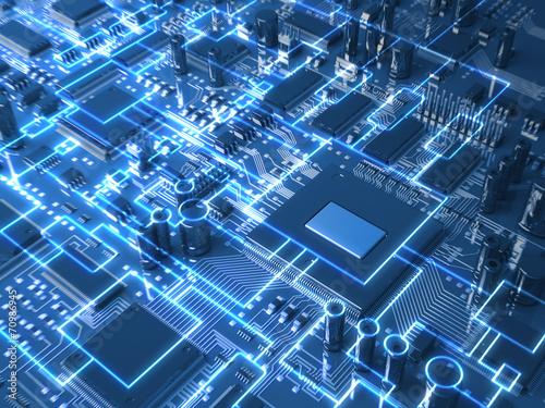 Fotografía  Fantasy circuit board or mainboard. Technology 3d illustration
