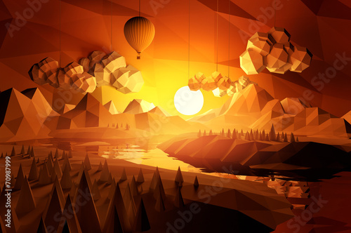 Cadres-photo bureau Marron Low Poly Scenic Landscape