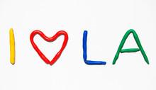 Text I LOVE LA From Plasticine