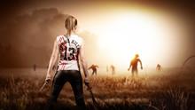 Kämpferin Wartet Auf Zombie-G...