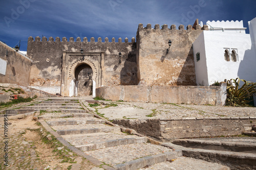 Foto auf Leinwand Marokko Ancient stone fortress in Madina. Old part of Tangier, Morocco