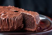 Chocolate Mud Cake On Black Ba...